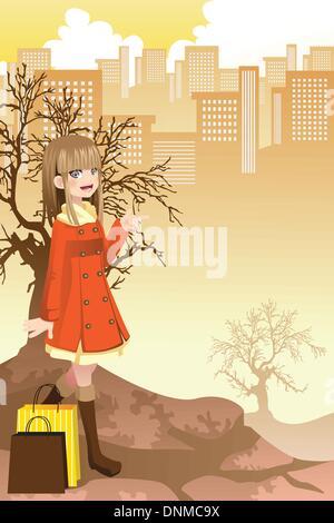 Un vecteur illustration d'une belle jeune fille shopping dans la ville Banque D'Images