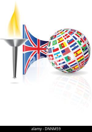 Avec la flamme de la torche avec drapeau de l'Angleterre et globe de drapeaux d'autres pays. Vector illustration Banque D'Images