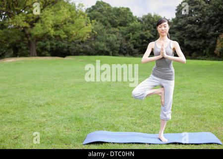 Jeune femme dans la pratique du yoga posture de l'arbre du parc Banque D'Images