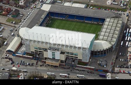 Vue aérienne d'Elland Road Leeds United Football Stadium à Leeds Banque D'Images