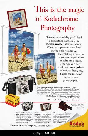 1950 annonce de film Kodachrome Kodak annonce dans le magazine américain vers 1954 Banque D'Images