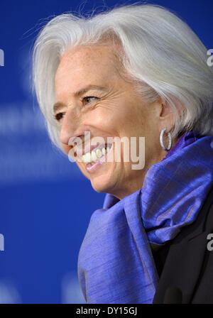 Washington, DC, USA. 2ème apr 2014. Fonds monétaire international (FMI), Christine Lagarde, le directeur prend la Banque D'Images