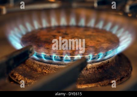 Un gros plan d'un gaz bleu flammes brûler sur une cuisine cuisinière gaz rig ou le brûleur Banque D'Images