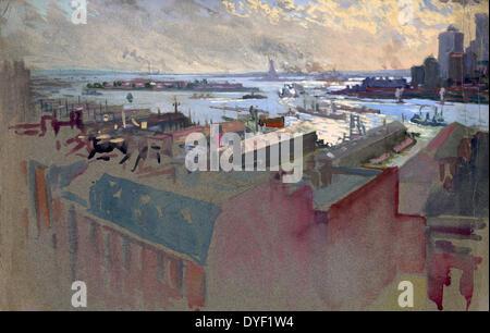 Baie de New York de la Margaret par Joseph Pennell, 1857-1926, l'artiste. daté entre ca. 1922 et 1926. Banque D'Images