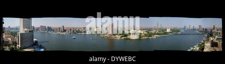 Un panorama du Caire central à sud/ouest/nord sur le Nil. Banque D'Images
