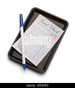 Bac noir bleu avec stylo et vérifier isolé sur un fond blanc. Banque D'Images