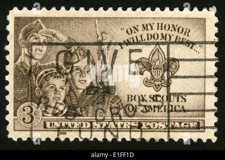 Timbre US, Boy Scouts of America, sur mon honneur je ferai de mon mieux Banque D'Images