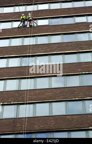 Deux hommes suspendu par corde et nettoyage du faisceau de Windows sur un bâtiment de plusieurs étages, Sauchiehall Banque D'Images