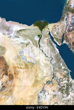 L'Égypte, True Color Satellite Image avec bordure. L'Égypte, true color satellite Image avec bordure. Le Nord est Banque D'Images