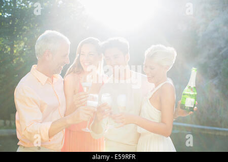 Friends toasting each other with champagne outdoors Banque D'Images