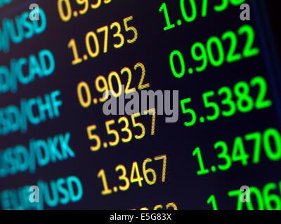 Les taux de change Les taux de Gros plan sur l'affichage numérique Banque D'Images