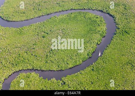 Bateau à voile & vue aérienne de la forêt tropicale de Daintree, rivière, parc national de Daintree, Queensland Banque D'Images