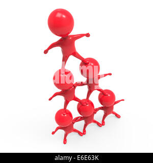 3D render of peu de gens rouge formant une pyramide humaine Banque D'Images