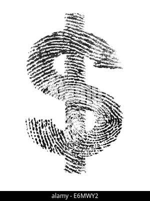 Signe du dollar a fait d'une véritable empreinte. Banque D'Images