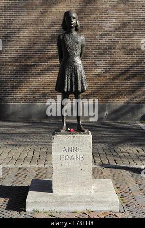 Anne Frank (1929-1945). Victime de l'holocauste juif. Statue. Utrecht, Pays-Bas. Banque D'Images