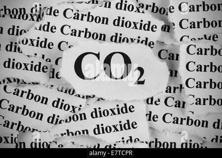 """Le dioxyde de carbone. Morceaux de papier avec les mots """"CO2"""" et """"dioxyde de carbone"""". Noir et blanc. Close-up. Banque D'Images"""