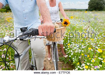 Senior couple riding bicycles sur chemin à travers champ de fleurs sauvages Banque D'Images