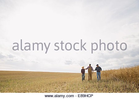 Multi-generation family walking in sunny wheat field Banque D'Images