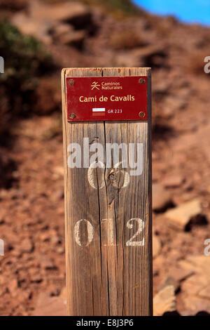 Cami de cavalls signe, Minorque, Iles Baléares, Espagne Banque D'Images