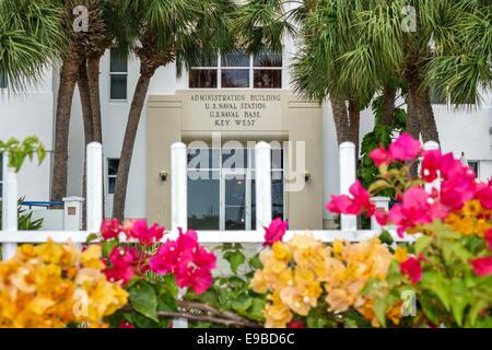 Key West Floride bâtiment administratif U.S. Naval Base Station Banque D'Images
