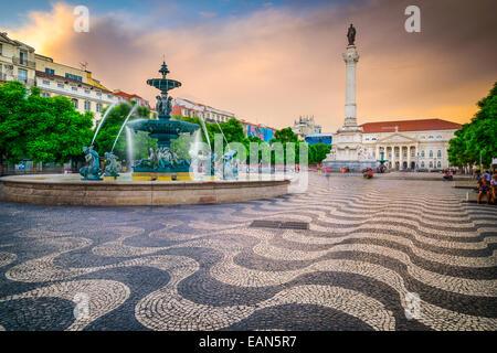 Lisbonne, Portugal à la place Rossio. Banque D'Images