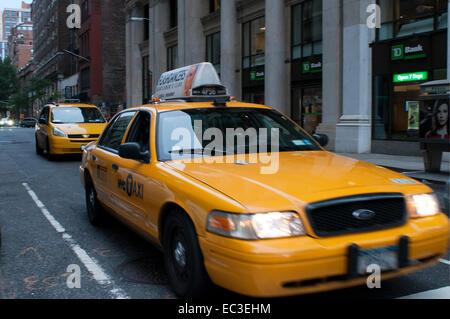 Taxi d'oursons dans Midtown Manhattan. Dans l'État en général, la durée du trajet entre les aéroports et le centre Banque D'Images