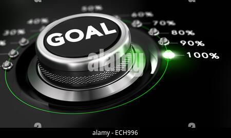 Bouton de l'interrupteur placé sur le nombre 100 pour cent, fond noir et feu vert. Image conceptuelle pour l'illustration Banque D'Images
