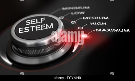 Bouton de l'interrupteur placé sur le mot maximum, fond noir et feu rouge. Pour l'illustration de l'image conceptuelle Banque D'Images