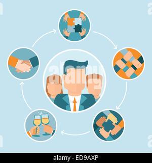Concept d'équipe et coopération en télévision style - partenariat et collaboration - mains d'icônes Banque D'Images