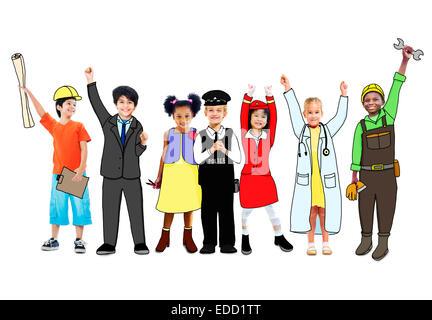 Heureux les enfants et les concepts de l'emploi de rêve Banque D'Images