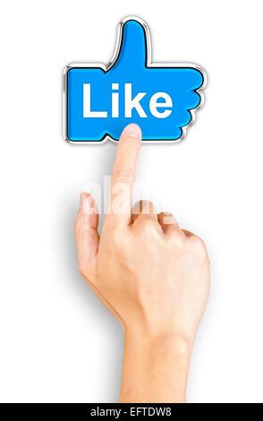 Cliquez sur une main bleue comme bouton, vue d'en haut Banque D'Images