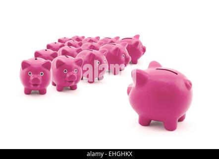 Grand groupe De pink Piggy Banks Banque D'Images