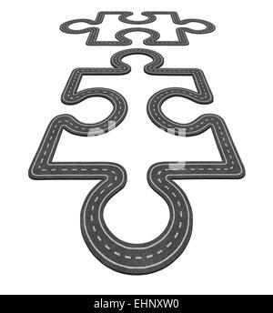 Liaison routière concept comme deux pièces de puzzle fusionnant ensemble comme un symbole du réseau de transport Banque D'Images