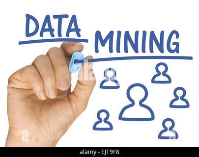 La main avec Surligneur bleu écrit l'exploration des données Banque D'Images