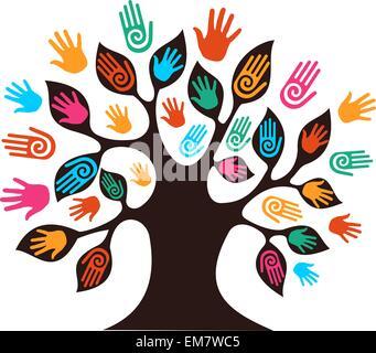 La diversité des mains d'arbres Banque D'Images