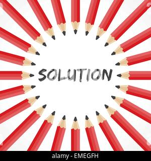 Mot de solution avec crayon vecteur stock Banque D'Images