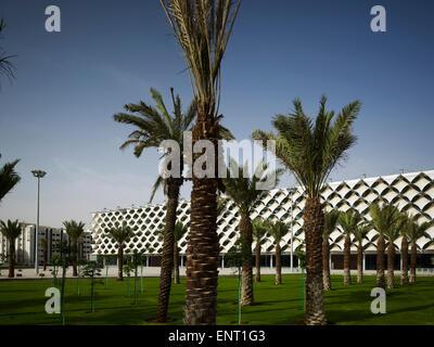Espaces paysagés vert de place urbaine avec bibliothèque au-delà. King Fahad Bibliothèque Nationale, Riyadh, Arabie Banque D'Images