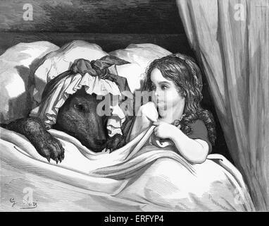 Charles Perrault, Le Petit Chaperon Rouge: Le Petit Chaperon Rouge avec le loup, gravure de Gustave Doré. Le Petit Banque D'Images