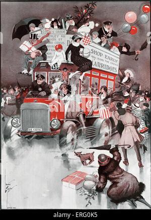 Shopping de Noël à partir du graphique 1921. Illustré par Laurie Tayler (dates de l'illustrateur inconnu). Banque D'Images