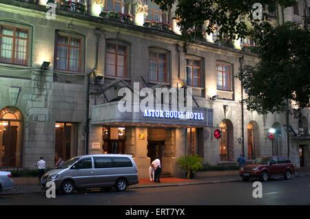 Hotel, Shanghai Pujiang Astor House, dans la nuit. Chine, Shanghai, l'hôtel Astor House Hotel. L'Astor House Hotel Banque D'Images