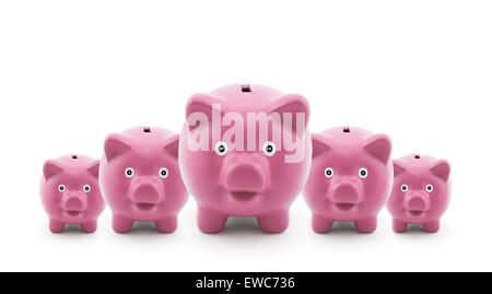 Groupe de pink Piggy Banks Banque D'Images