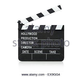Ardoise Film clapper board isolé sur fond blanc Banque D'Images