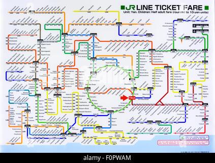 Carte Train de la Japan Railways lignes autour de Tokyo, Japon. Banque D'Images
