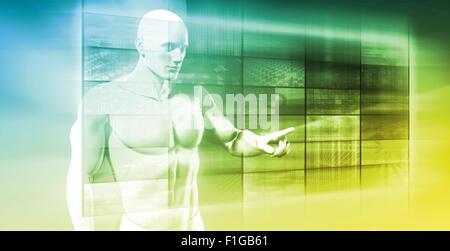 Réseau d'affaires de la navigation sur écran tactile futuriste Banque D'Images