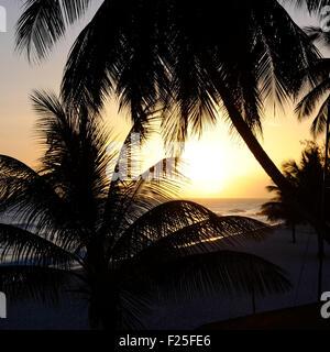 Dover Beach Barbados Coucher du Soleil Banque D'Images