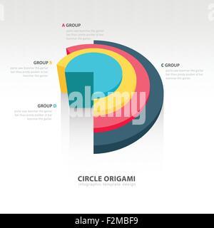 Cercle d'infographies origami Banque D'Images