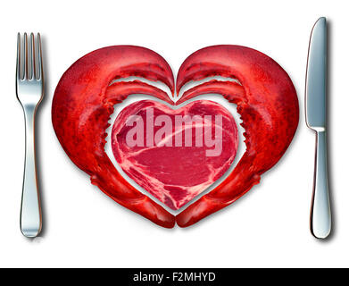 Surf and Turf symbole de fine cuisine et de l'amour de la viande et les fruits de mer comme un steak et du homard Banque D'Images