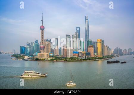 La Chine, la ville de Shanghai, Pudong Skyline Banque D'Images