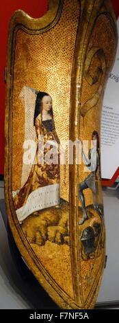 Bouclier Médiéval français (peut-être un cadeau ou un prix dans un tournoi). Représente une femme portant un couvre Banque D'Images
