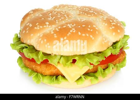 Big burger de poulet sur fond blanc Banque D'Images
